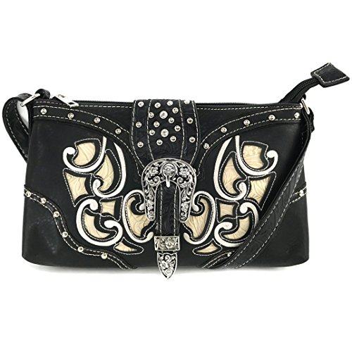 Justin West Western Tooled Laser Cut Rhinestone Buckle Messenger Bag Purse with Long Crossbody Strap (Black Buckle Purse)