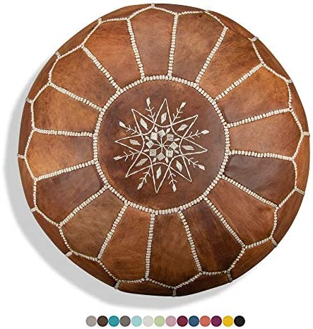 Premium Moroccan Leather Pouf – Handmade – Delivered Stuffed – Ottoman, Footstool, Floor Cushion Cognac Brown