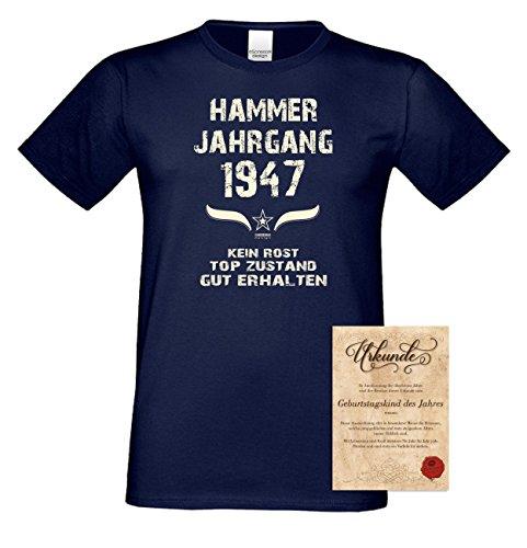 Geburtstags-Geschenk T-Shirt Herren Übergrößen Hammer Jahrgang 1947 Präsent zum 70. Geburtstag Freizeitlook Männer Farbe: navy-blau Gr: 4XL