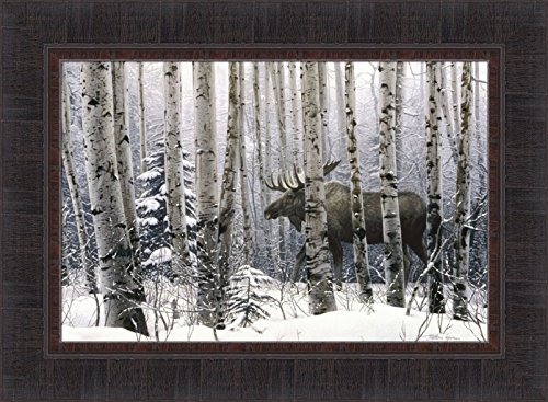 Home Cabin Décor A Walk In The Woods by Stephen Lyman 17x23 Moose Trees Snow Winter Framed Art Print Picture -