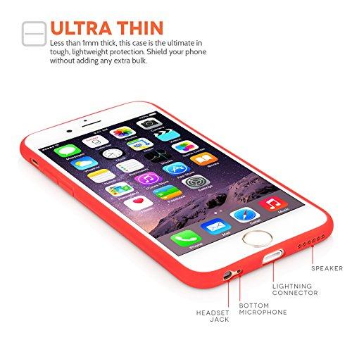 Yousave Accessories iPhone 6 Hülle Ultra Dünne Stabile Matt Rot Silikon Gel Hülle