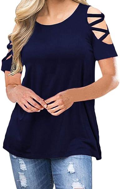 SFYZY Camisetas de Manga Corta para Mujer Hombro Frío Blusas con Cuello Redondo sin Hombro Tops Camisa Elegante Casual Color Liso T-Shirt, con Tiras, para Verano, Talla Grande: Amazon.es: Ropa y accesorios