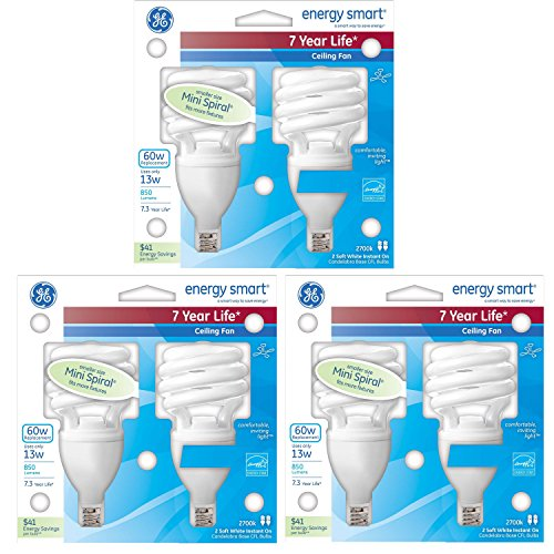 GE 13-Watt (60-Watt Replacement), 850 Lumens, Instant On Mini Spiral CFL Light Bulbs - 6 Bulbs