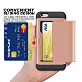 SAMONPOW iPhone 6S Case, iPhone 6 Case, Hybrid iPhone 6 Wallet Case Card Holder Shell Heavy Duty Protection Defender Shockproof Anti-Scratch Soft Rubber Bumper Cover Case for iPhone 6/6S - Rose Gold