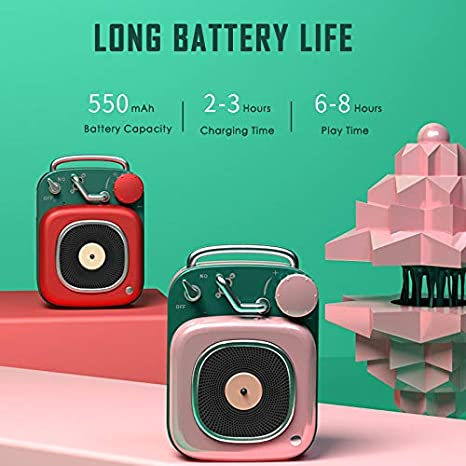 laize Portable Wireless Stereo Retro Speaker Creative Mini Nostalgic Vintage Subwoofer Bluetooth Small Speakers for Travel Outdoor Home Powerful Sound Long Battery Life