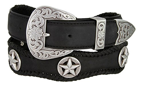 [Mens Austin Texas Stars Conchos Western Leather Scalloped Belt(Black,42)] (Concho Western Leather)