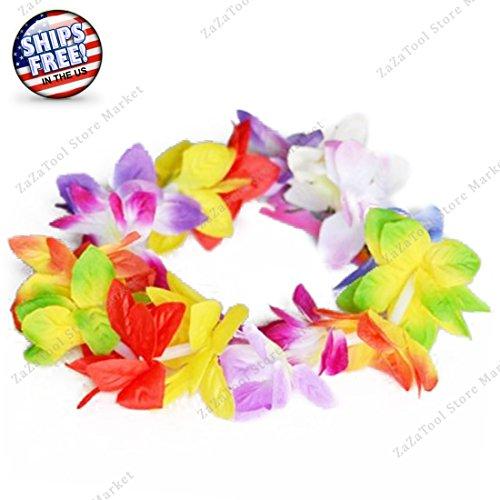 ZaZaTool - Perfect Luau or Wedding! Rainbow Multi Color Orchid Lei Flower Head Crown (Wedding Lilly Flowers Favor)