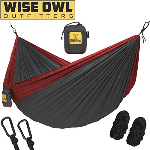 Cheap Wise Owl Outfitters Hammock for Camping Single & Double Hammocks Gear For The Outdoors Backpacking Survival or Travel – Portable Lightweight Parachute Nylon SO Charcoal & Red