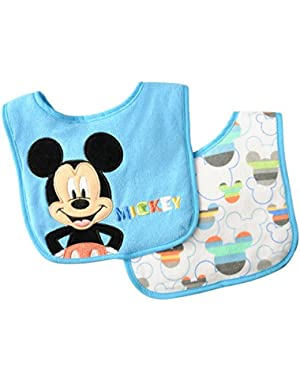 Neat Solutions 2 Piece Appliqued Embroidered and Printed Infant Bib Set, Disney Mickey Mouse