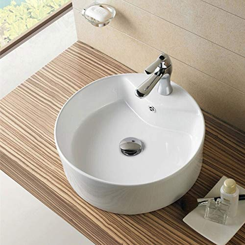 - Round Bathroom Sink, Vessel Sink Porcelain Above Counter White Countertop Bowl Sink for Lavatory Vanity Cabinet Contemporary Style (E-CL-1033)