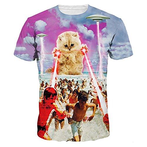 Men Funny T-Shirt,Vanvler Unisex Animal 3D Print Blouse Lovers Short Sleeve Tops Plus Size (XL, Yellow Kitten)