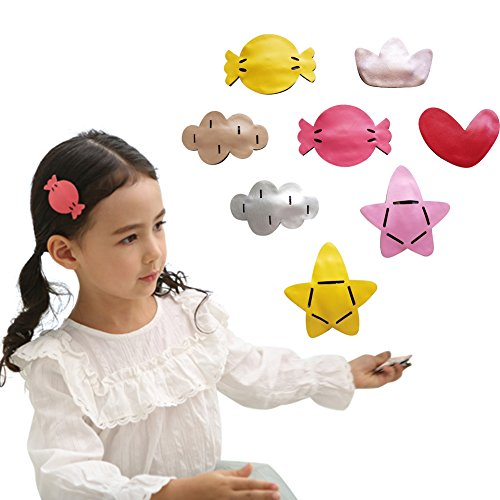 8Pcs Leather Baby Toddlers Snap Clips Set Durable Hair Bow Girls Colorful Clips (Ribbion Bows)