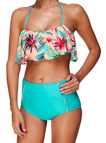 JOSIFER High Waisted Floral Off Shoulder Retro Halter Bikini Set Flounce Top Swimsuit For Women Green Mint,(US 4-6) M (Swimsuit Top Green)