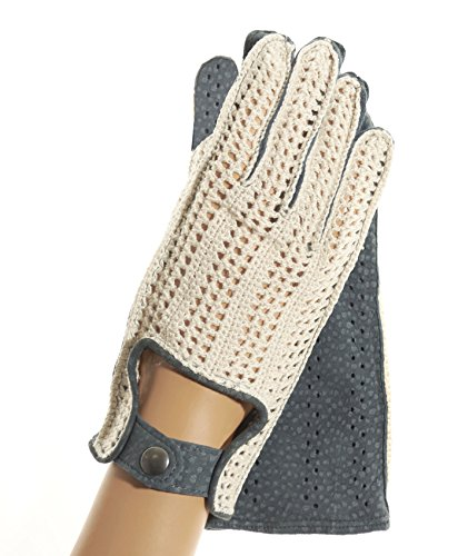 Women's Fratelli Orsini Crochet and Carpincho Leather Driving Gloves Size 7 1/2 Color Jeans by Fratelli Orsini