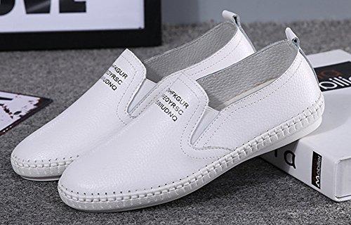 Bout Simple Rond Femme Blanc Coutures Baskets Aisun Plat zfqtwn5U