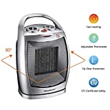 Homeleader Portable Space Heater Electric Heater with Thermostat, Ceramic Heater with Carrying Handle and Tip Over Switch for Home and Office, 750W/1500W