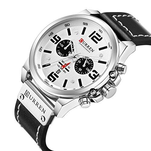 Military Watches Sport for Men Men's Leather Strap Analog Quartz Wristwatch Fashion Sport Watch for Men Chronograph Date CAOWTAN (Black Silver White)
