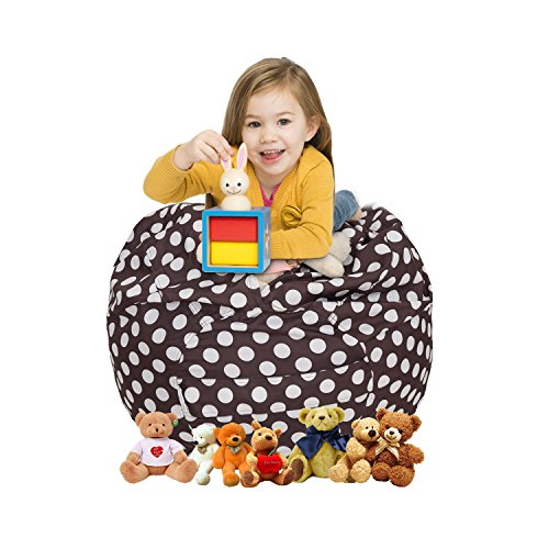 Chocolate Toy Bag - CALA Stuffed Animal Storage Bean Bag Chair for Kids - Extra Large 38'' Cotton Canvas Kids Soft Toy Organizer,More: Extra-Wide Handle, Premium Seams, Zipper(Chocolate Polka Dot