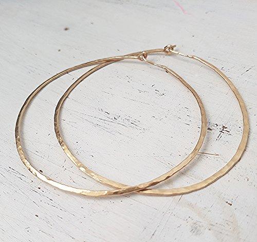 Hammered Hoop Earrings 14k Gold Filled Large Hoop 2.5 (14k Hammered Gold Earrings)