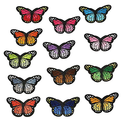 - ARTEM Colorful Butterfly Patch Iron On/Sew On Patch Embroidered Badge Patch Applique for Backpack Cap Jacket T-Shirt Shoes Repair Patch(13 PCS)