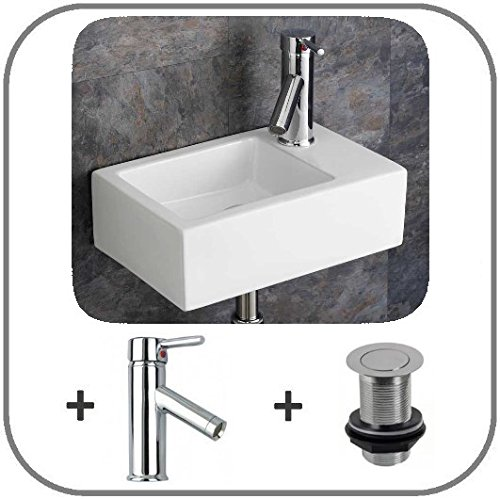 Clickbasin Space Saving 23.5cm Deep Taranto Right Wall Hanging Sink With Mono Mixer Tap And Click Waste
