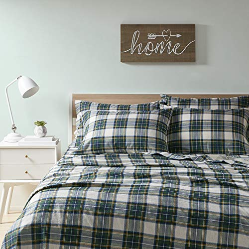 Comfort Spaces Cotton Flannel Breathable Warm Deep Pocket Sheets With Pillow Case Bedding, Queen, Scottish Plaid Green