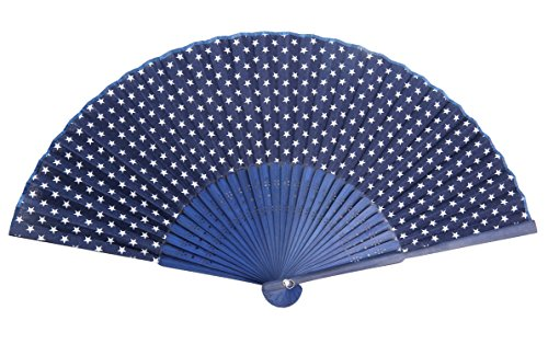 Hand Printed Cotton - Hand Fan Bamboo Star Printed Folding Fan Cotton for Party Wedding Gift Navy Star