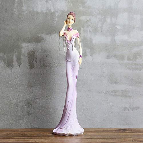 TLLDX Figurine Figurines Statue Statues Statuettefigurine Purple European Doll Lady Resin Decoration Home Decoration Chain