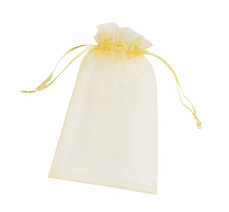 ONW Bolsas de Organza para Envolver Regalo Detalle de Boda Joyas Caramelo Dulces Bolsitas para Regalos ,Amarillo 100 PCS 15x20 cm