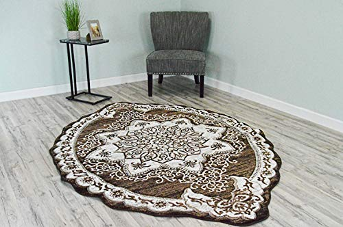 - PlanetRugs Inc Twist Free Shape 3D Hand Carved Traditional 5x8 Oval Colorful Luxury Rug for Bedroom, Living Room, Dining Room Oriental 4737 Brown
