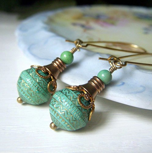 Teal Lucite Earrings - Brass Dangle - Vintage Inspired Round Etched Bead - Dangle Etched