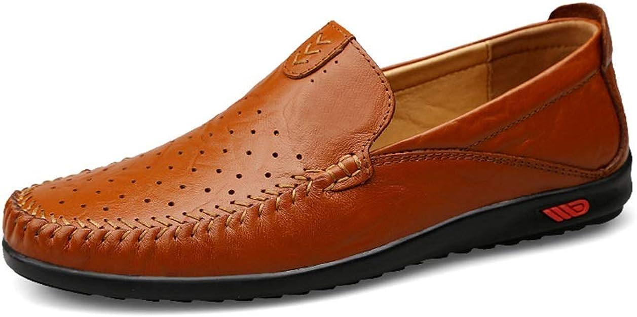Verano perforado Oxford para De los hombres Mocasines ocasionales de holgazanería de deslizamiento en una zapatilla de cuero genuino Mocasines de barco Zapatos de negocios formales Mocasines Buena Cal: Amazon.es: Zapatos y