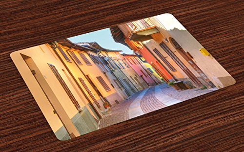 Ambesonne Italy Place Mats Set of 4, Narrow Paves Street Among Old Houses in Town Serralunga D'Alba Piedmont, Washable Fabric Placemats for Dining Room Kitchen Table Decor, Pale Orange Brown Pink