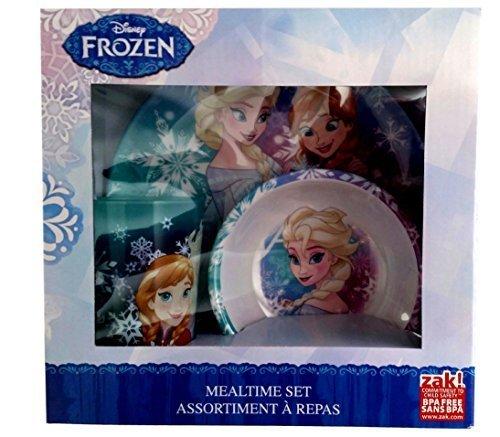 Disney Frozen Elsa Anna Mealtime Set - 3 Items - Plate, Bowl, Tumbler by Zak