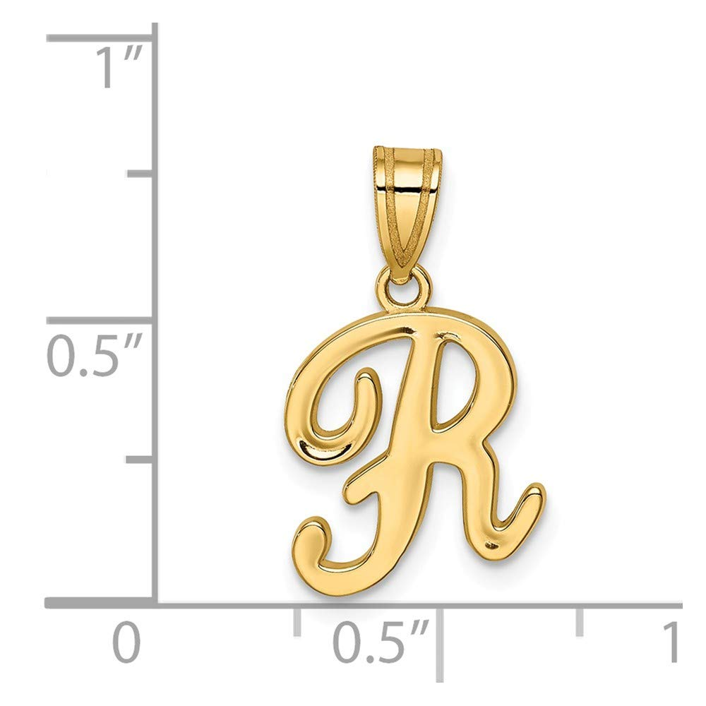 14K Yellow Gold Polished V Script Initial Small Charm Pendant