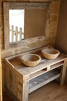 Mobile da bagno realizzato con legno di castagno ed epal, completo di pietra e specchio. Fatto a mano, misure 120 x 50 x 100 h , specchio misure 120 x 80 finito cornice in legno