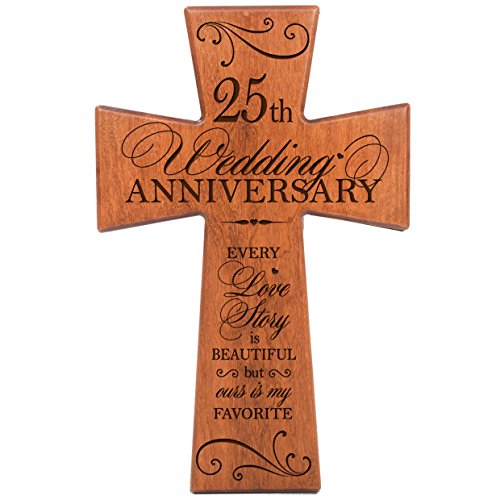 LifeSong Milestones 25th Wedding Anniversary Cherry Wood Wall Cross Gift for Couple, 25th for Her,25th for Him Every Love Story is Beautiful but Ours is My Favorite # ()