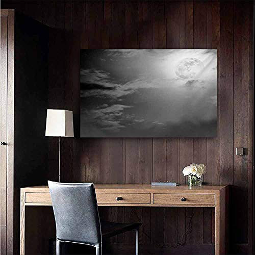 duommhome Night Sky Art Oil Paintings Full Moon and Clouds Midnight View Vintage Black and White Style Dramatic Scene Canvas Prints for Home Decorations 24
