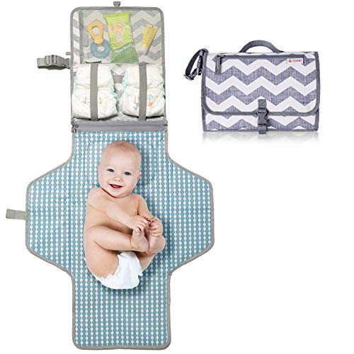CutieB Portable Diaper Changing Pad with Built-in Head Pillow - Chevron
