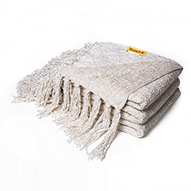 DOZZZ Decorative Chenille Throw Blanket for Couch Warming Throws Sofa Cover Soft Bedding Blanket, 60 x 50 Inch, Ivory