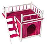 GOOD LIFE Wood Cat House Pet Home Furniture Cat Shelter Small Dog Condo Pink Color with Balcony and Stairs PET112