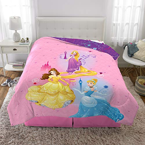 "Disney Spring Princess (Disney Princess Kids Bedding Soft Microfiber Reversible Comforter, Twin/Full Size 72"" x 86"", Pink/Purple)"