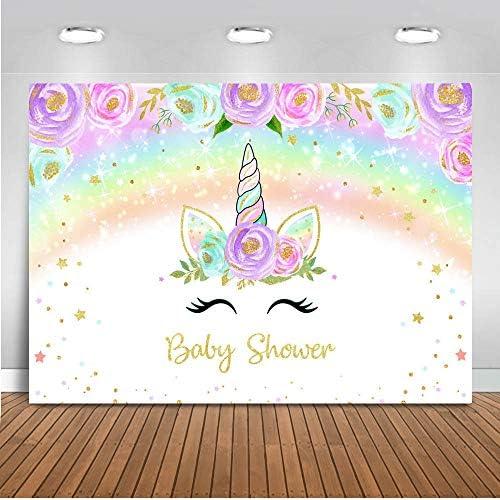 SZZWY Vinyl 5X7FT Unicorn Backdrop Sweet Baby Shower Backdrops Cartoon Twinkle Stars Shining Moon Bokeh Photography Background for Girls Princess Happy Birthday Party Photo Studio Props YX221