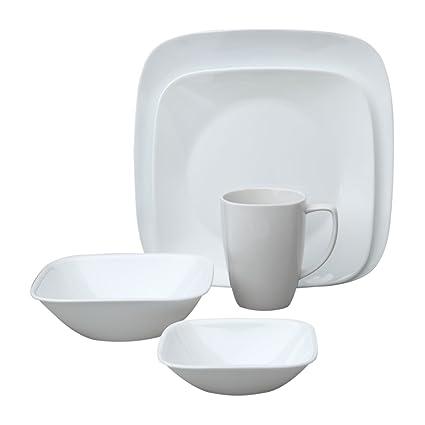 Amazon.com | Corelle Square Pure White 20-Piece Dinnerware Set ...