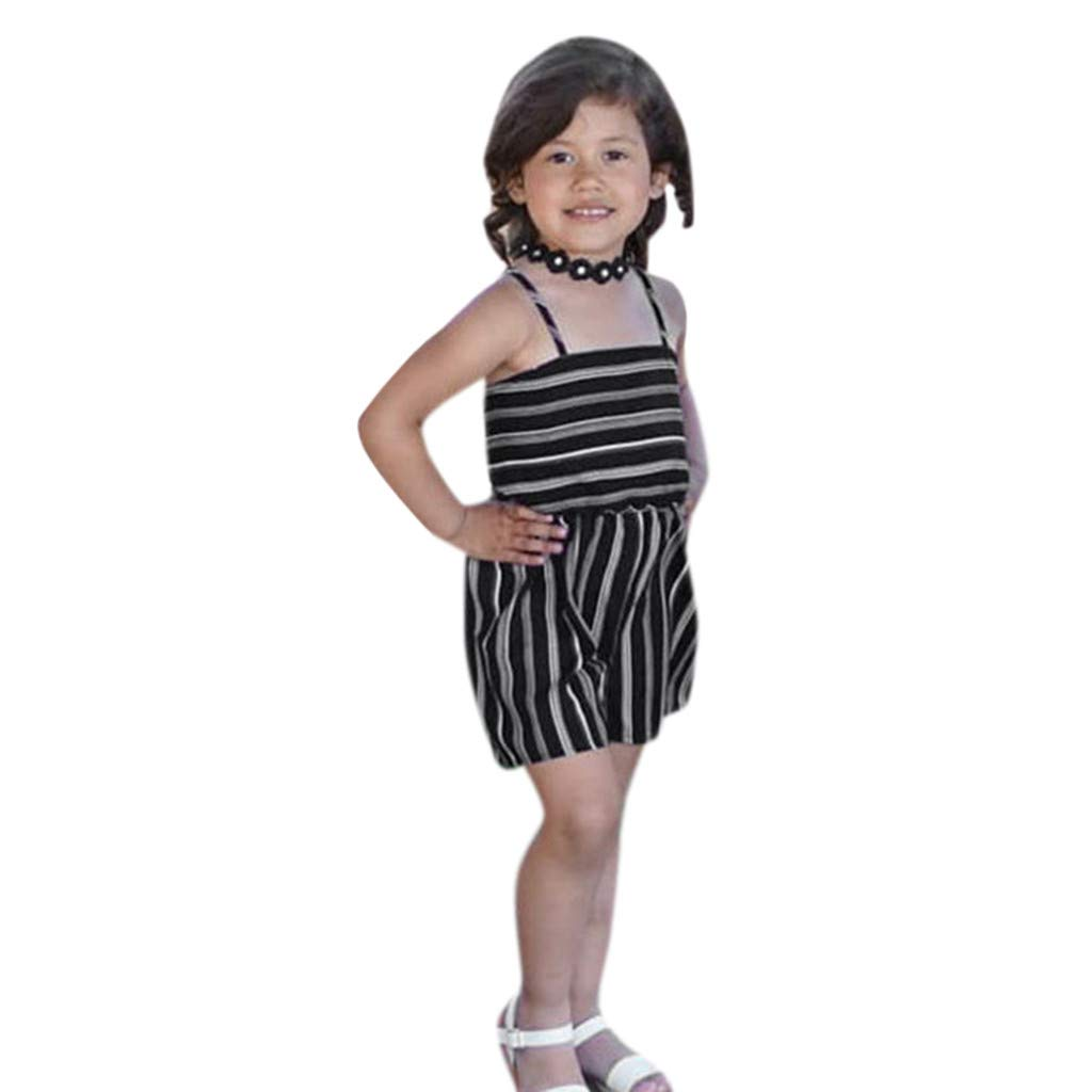 NUWFOR Toddler Baby Kids Girls Summer Striped Backless Romper Jumpsuits Clothes Sunsuit(Black,4-5 Years)