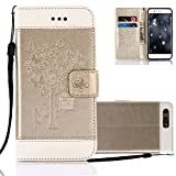 Aeeque Huawei P10 Lite Case Fold, Premium PU Leather Flip Stand Function Magnetic Clasp Wallet Holster and Beautiful Girls Butterfly Tree Pattern for Huawei P10 Lite 5.2 inch - Gold and Whit