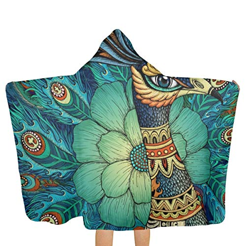 LHLX HOME Proud As A Peacock Queen Kids Hooded Beach Bath Robe Shower Towels for Baby Toddler Boys Swim Pool Coverup Poncho Cape Multi-use 30 X 51]()