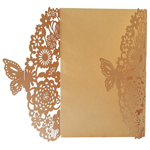 TOOGOO(R) 10Pcs/Set Delicate Carved Butterflies Romantic Wedding Party Invitation Card Envelope Invitations for Wedding£ºGolden Beige Carved Butterfly Beads