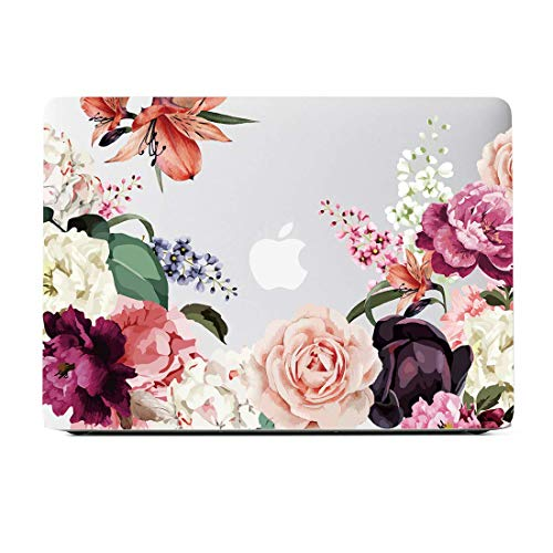 Lapac MacBook Air 13 Inch Case 2018 Release A1932, Rose Flower Clear Case, Soft Touch Hard Shell Case for MacBook Air 13 Inch & Retina Display Fits Touch ID