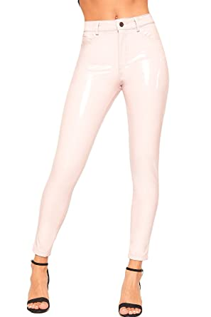 95a7c380366bb WearAll Women's High Waisted Wet Look Vinyl Skinny Leg Jeans Ladies  Trousers Pants - Pink -